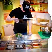 Cook prepare salad